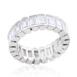 Simulated Diamond Full Eternity Band Ring in Silver Bond