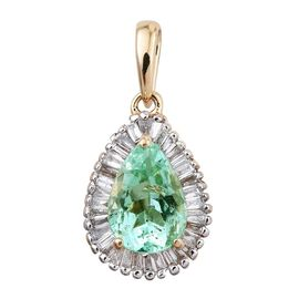 ILIANA 18K Y Gold Boyaca Colombian Emerald (Pear 1.25 Ct), Diamond Pendant 1.500 Ct.