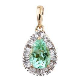 ILIANA 18K Y Gold Boyaca Colombian Emerald (Pear 1.25 Ct), Diamond Pendant 1.500 Ct.