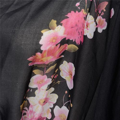 Multi Colour Flower Pattern Black Colour Kimono (Size 95x70 Cm)