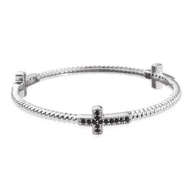 Boi Ploi Black Spinel Cross Silver Bangle (Size 7.5) in Platinum Overlay 1.250 Ct.
