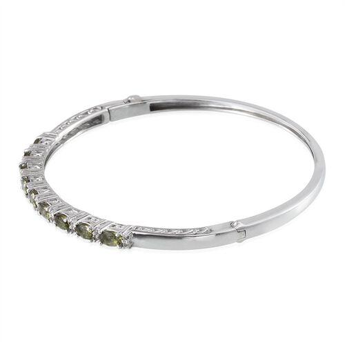 Bohemian Moldavite (Ovl), White Topaz Bangle (Size 7.5) in Platinum Overlay Sterling Silver 2.000 Ct.