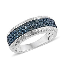Blue Diamond (Rnd), White Diamond Band Ring in ION Plated Platinum Bond 0.050 Ct.