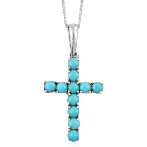 Arizona Sleeping Beauty Turquoise (Rnd) Cross Pendant with Chain in Platinum Overlay Sterling Silver 1.250 Ct.