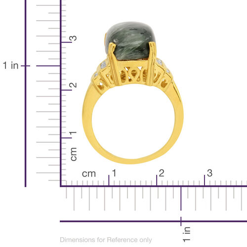 Siberian Seraphinite (Cush 6.25 Ct), White Topaz Ring in 14K Gold Overlay Sterling Silver 6.500 Ct.