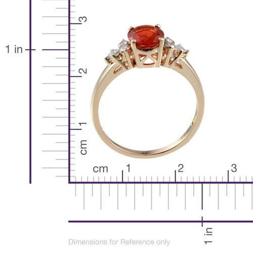 14K Y Gold Jalisco Fire Opal (Ovl 1.25 Ct), Diamond Ring 1.500 Ct.