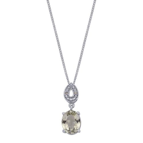 Green Sillimanite (Ovl 1.50 Ct), Diamond Pendant With Chain in Platinum Overlay Sterling Silver 1.510 Ct.