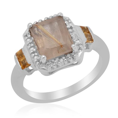 Aurelia Rutilated Quartz (Oct 2.04 Ct), Citrine and White Topaz Ring in Platinum Overlay Sterling Silver 2.250 Ct.