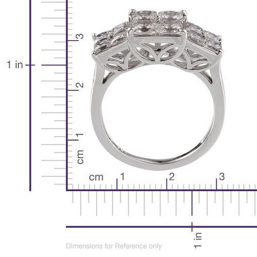 J Francis - Platinum Overlay Sterling Silver (Sqr) Ring Made with SWAROVSKI ZIRCONIA 3.260 Ct.