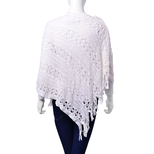 White Colour Poncho with Tassels (Size 50 Cm)