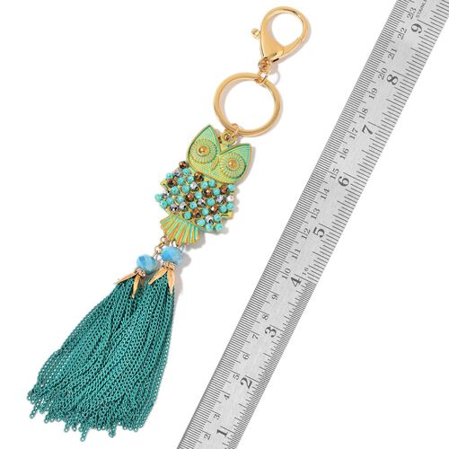 Set of 2 - White Austrian Crystal and Multi Colour Beads Owl with Tassel Key Chains in Yellow Gold Tone