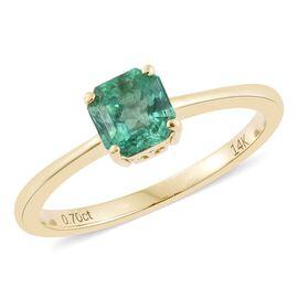 14K Yellow Gold 0.69 Carat AAA Boyaca Colombian Emerald Octagon Solitaire Ring