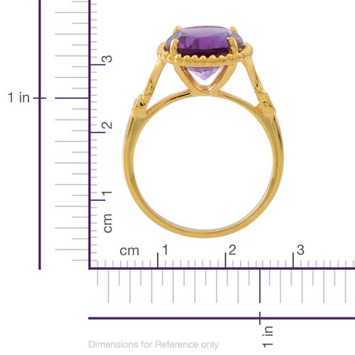 Amethyst (Ovl 3.90 Ct), Natural Cambodian White Zircon Ring in 14K Gold Overlay Sterling Silver 4.000 Ct.
