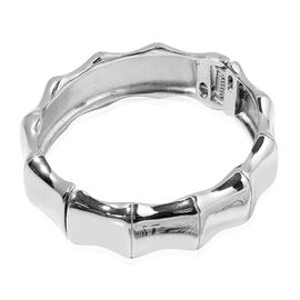 Designer Inspired Bamboo Bangle (Size 7.5) in Silver Tone