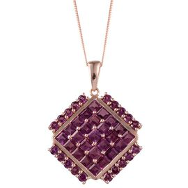 Orissa Rhodolite Garnet (Sqr) Cluster Pendant With Chain in Rose Gold Overlay Sterling Silver 9.000 Ct.