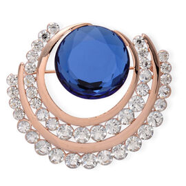 Blue Glass, White Austrian Crystal Brooch in Rose Gold Tone