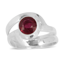 Royal Bali Collection African Ruby (Rnd) Solitaire Ring in Sterling Silver 1.960 Ct.