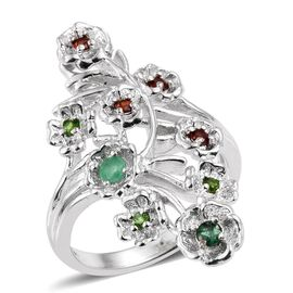 Kagem Zambian Emerald (Rnd), Mozambique Garnet and Russian Diopside Ring in ION Plated Platinum Bond