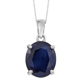 Blue Sapphire (Ovl) Solitaire Pendant With Chain in Rhodium Plated Sterling Silver 6.000 Ct.