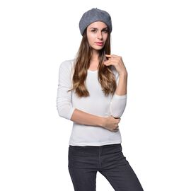 MILANO COLLECTION - 90% Merino Wool Grey Ladies  Beret