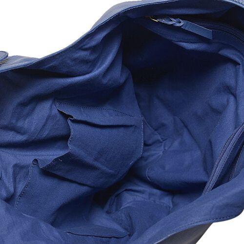 Genuine Leather Floral Embroidered Blue Colour Handbag with Adjustable Shoulder Strap (Size 50X30X21.5 Cm)