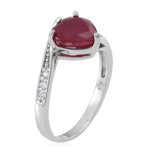 African Ruby (Hrt 3.15 Ct), White Topaz Ring in Rhodium Plated Sterling Silver 3.250 Ct.