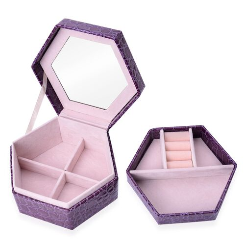 Purple Colour Croc Embossed Hexagon Shaped 2 Layer Jewellery Box with Mirror inside (Size 14.5x12.5x7.2 Cm)
