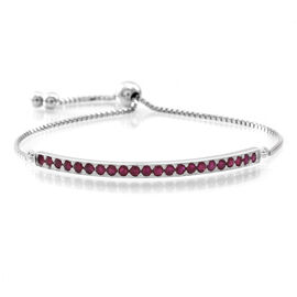 AAA Burmese Ruby (Rnd) Adjustable Bracelet (Size 6.5 to 8.5) in Rhodium Plated Sterling Silver 2.000 Ct.