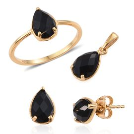 Black Onyx (Pear) Solitaire Ring, Pendant and Stud Earrings (with Push Back) in 14K Gold Overlay Sterling Silver 3.750 Ct.