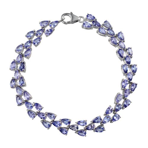 Tanzanite (Pear) Bracelet in Platinum Overlay Sterling Silver (Size 7) 12.250 Ct.