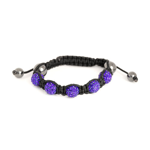 Hematite and Purple Austrian Crystal Bracelet (Size 7.5) 32.001 Ct.