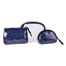 Set of 3 - Blue Colour PVC Cosmetic Bag Large (18x16x8 Cm), Medium (Size 16x12x4 Cm) and Small (Size 13x10x4 Cm)