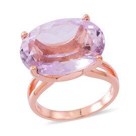 Rose De France Amethyst (Ovl) Ring in Rose Gold Overlay Sterling Silver 17.000 Ct.