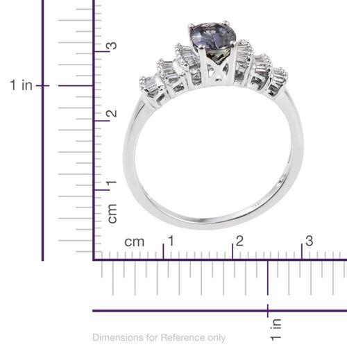 9K W Gold Green Tanzanite (Ovl 0.80 Ct), Diamond Ring 1.000 Ct.