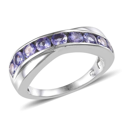 Tanzanite (Rnd) Ring in Platinum Overlay Sterling Silver 1.750 Ct.