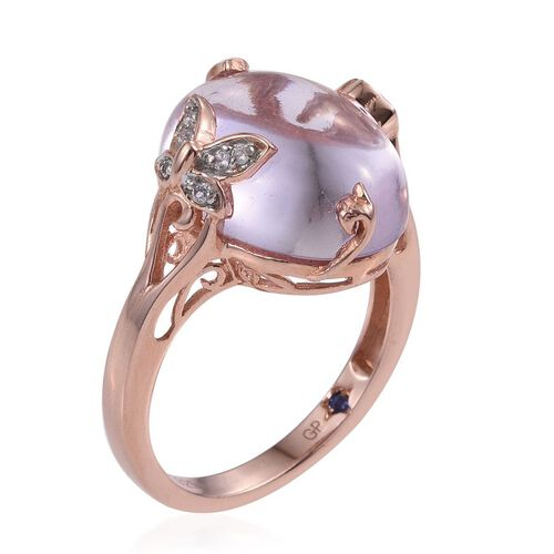 GP Rose De France Amethyst (Ovl 13.10 Ct), Kanchanaburi Blue Sapphire, Rhodolite Garnet and Natural Cambodian Zircon Ring in Rose Gold Overlay Sterling Silver 13.250 Ct.