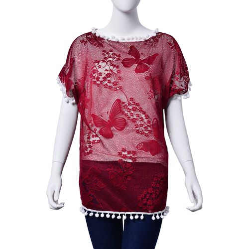 Floral and Butterfly Pattern Red Colour Poncho with White Pompom