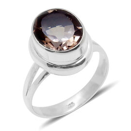 Royal Bali Collection Morganite Colour Quartz (Ovl) Solitaire Ring in Sterling Silver 4.880 Ct.