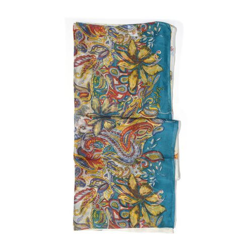 100% Mulberry Silk Multi Colour Floral, Leaves and Paisley Printed White Colour Scarf with Blue Boundaries (Size 175x100 Cm)
