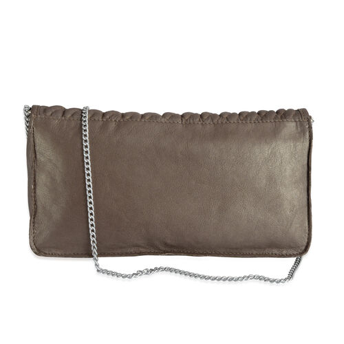 Genuine Leather Brown Colour Sling Bag with Chain Strap (Size 27x13x4 Cm)
