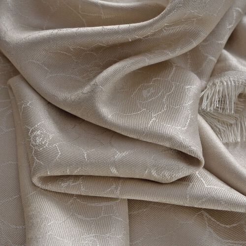 100% Superfine Silk Cream Colour Floral Pattern Jacquard Jamawar Shawl with Fringes (Size 175x70 Cm) (Weight 125 -140 Grams)