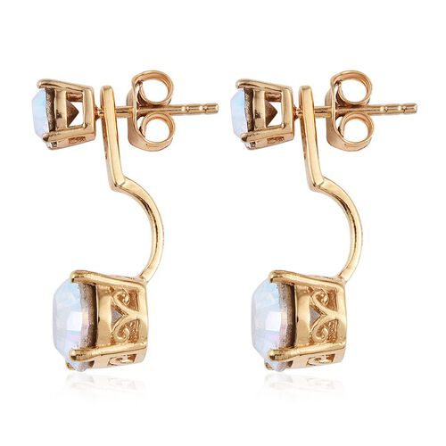 J Francis Crystal from Swarovski - AB Crystal (Rnd) Earrings (with Push Back) in 14K Gold Overlay Sterling Silver