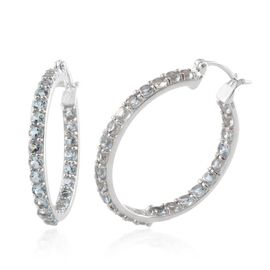 Espirito Santo Aquamarine (Rnd) Hoop Earrings in Platinum Overlay Sterling Silver 5.000 Ct.