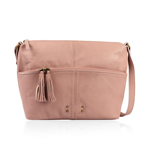 Genuine Leather RFID Blocker Mauve Colour Sling Bag with External Zipper Pocket (Size 39X24X10 Cm)