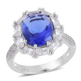 Simulated Tanzanite and Simulated White Diamond Ring in Rhodium Plated Sterling Silver