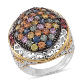 Limited Available- AAA Rainbow Sapphire Cocktail Ring in Rhodium Plated Sterling Silver 6.000 Ct. Silver Wt 13.00 Gms