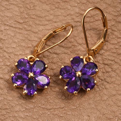 Natural Uruguay Amethyst (Pear) Floral Lever Back Earrings in 14K Gold Overlay Sterling Silver 3.250 Ct.