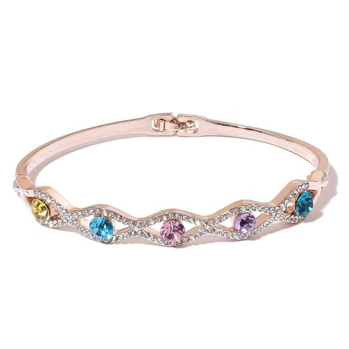 Simulated Multi Colour Diamond and White Austrian Crystal Bangle (Size 8) in Rose Gold Tone