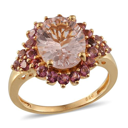 Marropino Morganite (Ovl 3.50 Ct), Pink Tourmaline Ring in 14K Gold Overlay Sterling Silver 4.650 Ct.