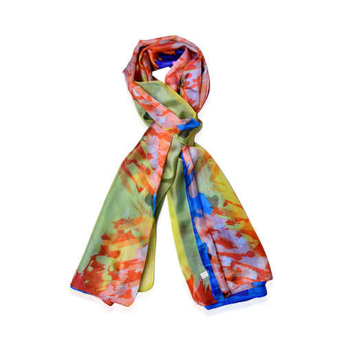 100% Mulberry Silk Dark Blue, Orange and Multi Colour Scarf (Size 170x110 Cm)